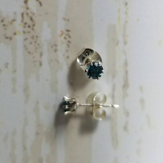 3mm London Blue Topaz Sterling Silver Stud Posts