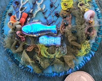 Fantasy seascape  embellished fiber art pin