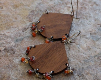 WOOD chandelier earrings with Garnet, Citrine, and Carnelian, sterling silver