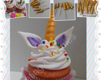 Fondant - 18 UNICORN HORNS Only.  Edible Fondant decorations. For cupcakes, cookies or Cake Pops - You choose the colors