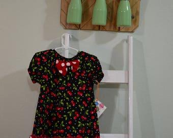 Cherry Peasant Dress- 3T- Toddler Girl Dress