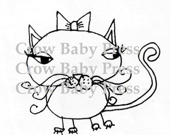 Printable Kitty jpg digital stamp Cat doodle instant download coloring page or clip art