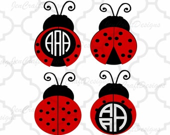 Ladybug SVG Frames, lady bug summer svg beetle Svg Cut Files, svg, dxf, ai, eps, png cut files, Instant download.  love bug monogram frame