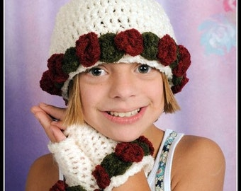 218 PDF Fluffy Roses Beanie and Fingerless Gloves Infants to Adult Sizes Crochet Pattern Instructional Video Included