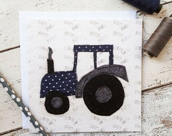 Polka Dot Tractor Square Greetings Card Blank Inside