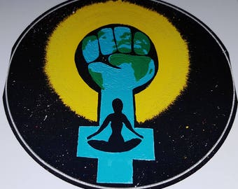 Mother Earth, Gaia, Feminist Fist, Women protect earth, environmental - support sticker.