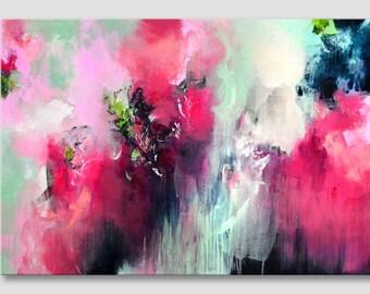 Originele abstracte schilderkunst, grote schilderij, grote acryl, abstracte kunst, redrose roze mint groen artwork, moderne kunst op uitgerekt XL doek