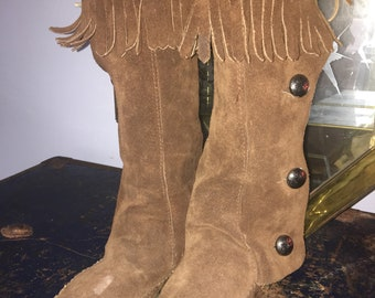 Handmade Moccasin Boots with fringe