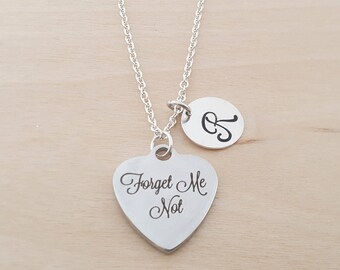 Forget Me Not Necklace -  Heart Charm - Personalized Necklace - Initial Necklace - Custom Jewelry - Personalized- Gift for Her