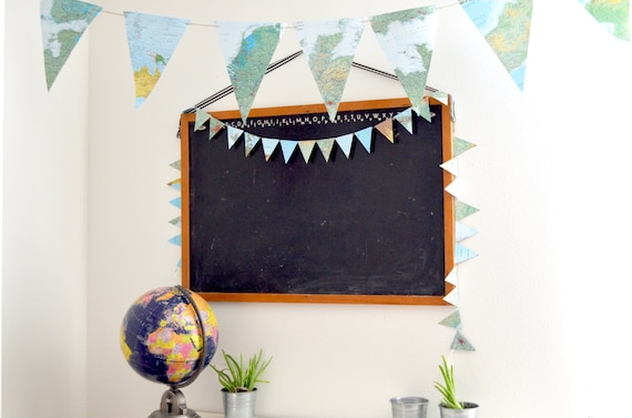 EXTRA Large Vintage Map Triangle Garland  - 10, 15, 20 or 30 feet of bunting