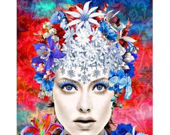 Blue Eyes Queen, digital print, photomontage, modern art, contemporary, abstract portrait, fine art print, contemporary, wall art, portrait