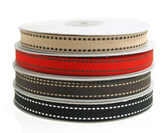 Saddle Stitch Border Grosgrain Ribbon, 3/8-Inch, 25 Yards