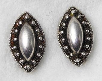 Antique Vintage Siam Silver Earrings - Pierced