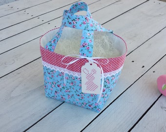 Floral Easter basket, floral fabric and lace basket, lace easter basket,ypolka dot basket, personalized