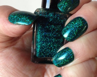 Emerald City - Seven Sisters Nail Lacquer - 15 mL 0.5 Fl Oz. - Emerald Green with Blue Flash Holographic Nail Polish/Top Coat Overlay