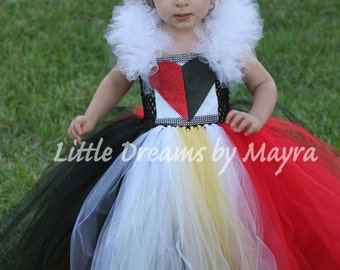Queen of Hearts inspired tutu costume - Queen of Hearts inspired dress - Alice in Wonderland inspired costume size nb to 10years