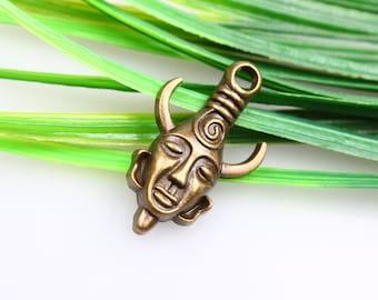 wholesale-10/pcs antiqued bronze Avatar evil forces zinc alloy charms findings19*32mm Antique Bronze avatars masks Charms Pendants