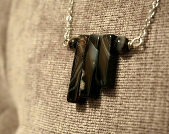 The Tracey: Black banded agate cascade necklace