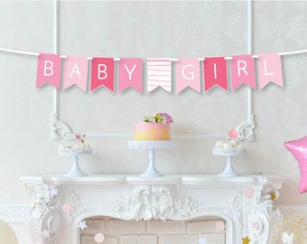 Baby Girl Banner - New Baby Announcement - It's a Girl Banner - Baby Shower Decor - Pink Baby Shower Banner - Nursery Banner - Welcome Baby