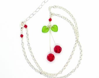 Cherries Necklace_Swarovski Jewelry_Rockabilly_Adjustable_19 inches_1950's_Gift for Her_