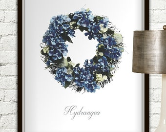 Blue Hydrangea Wreath Print, Blue Hydrangea, Hydrangea, Blue Hydrangea Wedding, Hydrangea Clip Art, Hydrangea Print, Spring Hydrangea Wreath