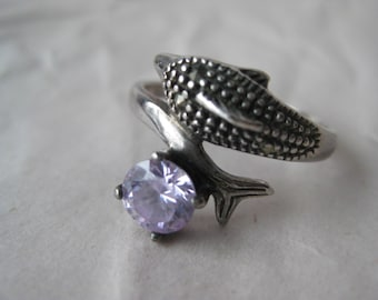 Dolphin Marcasite Sterling Ring Vintage Clear Stone 925 Silver Size 9 1/4