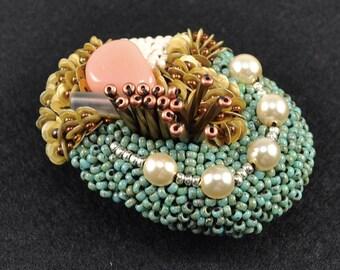 circle beads brooch, statement brooch, green and gold brooch, oval brooch, sparkly brooch, embroidered brooch, art brooch, cool brooch No.1