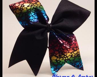 Black & Rainbow Cheer Bow