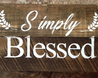 Simple Blessed Sign Reclaimed Wood