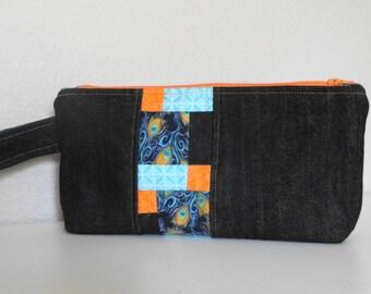 Custom Made Zipper Wristlet Clutch with Patchwork Detail