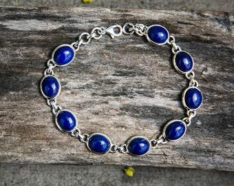 Lapis Bracelet - Lapis Lazuli Braclet - Lapis Bracelet - Lapis Lazuli Jewelry - Sterling Silver Lapis Bracelet - Lapis Lazuli Jewelry