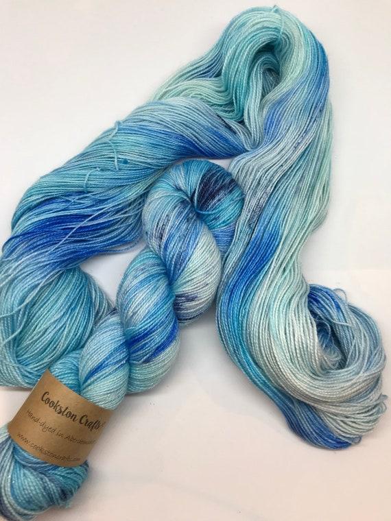 Delft - 100g Superwash Merino / Nylon / Silver Stellina Sparkle Sock Yarn 4 ply, fingering, hand dyed Pale Blue, Navy Speckles