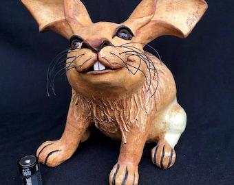 Large Handmade Clay Rabbit Bunny figurine Outdoor Ceramic Animal Lawn Sculpture Unique Rabbit Statue Nature Inspired Garden Art Peter Rabbit