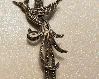 Vintage Marcasite .925 Sterling Silver Bird Pin Brooch