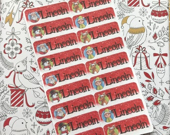 Personalised Kids Christmas present label / stickers (characters)
