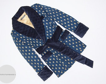 Mens Quilted Smoking Jacket English Style Silk Navy Blue Velvet Warm Dandy Robe Victorian Gentleman Luxury X-Large Traditional Monogrammed
