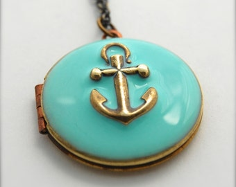 Anchor Necklace Locket Vintage Custom Enamel Jewelry Anchors Charms Nautical Wedding Weddings Ocean Sea Personalize Pendant Unique Gifts
