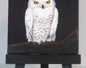Miniature Snowy White Owl Painting on Mini Wooden Easel