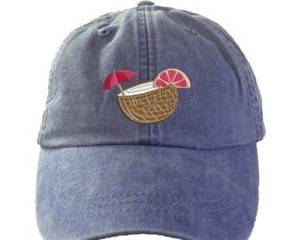 Coconut Drink  Hat.  L Baseball Hat. Cool Mesh Lining & Adjustable Strap. 33 Colors Avail. HER-LP101