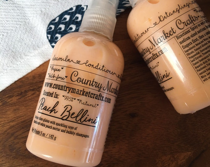 Leave in Conditioner - Peach Bellini - Scent- 99% Natural - Handmade - Valentines Day Gift-