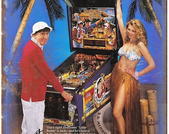 """Bally Midway Pinball Gilligans Island 10"""" x 7"""" Reproduction Metal Sign D61"""