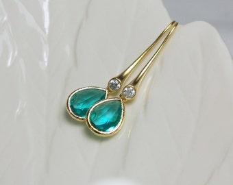 Aqua Cubic Zirconia Dangle Earrings Modern Jewelry Gift Idea Tear drop Earrings Long Earrings Cubic Zirconia Earrings Matte Gold