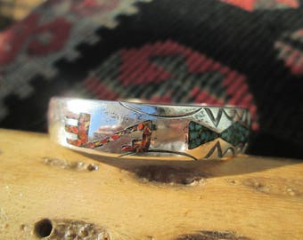 Turquoise, Coral and Sterling Inlay Stacking Cuff Bracelet
