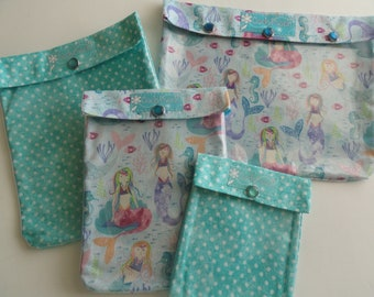 Mermaids and Aqua Polka Dots Set Clear Front Ouch Pouch Baby Diaper Bag Organizers 4 Sizes Girl Supplies First Aid Wipes Overnights Sea Life
