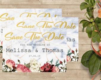 Save The Date Cards/ Floral/ Elegant/ Wedding Invitation/Envelope Option/ Digital File Option