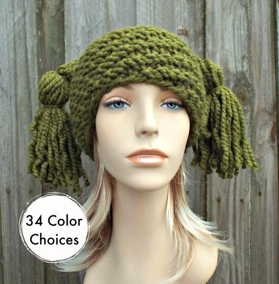 Knit Hat Womens Hat - Spiral Ponytail Tassel Hat in Olive Green - Green Hat Green Beanie Womens Accessories Winter Hat - 34 Color Choices
