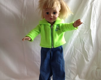 Limegreen fleece jacket plus jeans with dragon fly applique