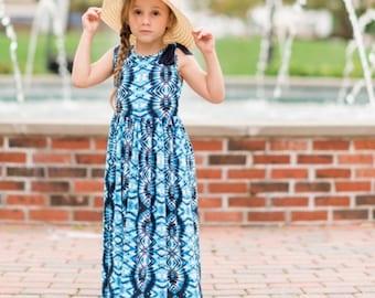 Girls Sleeveless Navy Blue Tie-Dye Maxi Dress, Girls Summer Maxi Dress, Girls Long Dress - Sizes 4/5, 6/6x, 7/8, 10/12 Ready to Ship