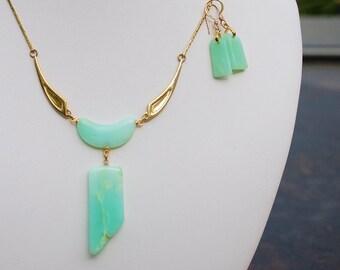 10% OFF Rare Aqua Chrysoprase Set Precious Gemstone 14KP Wings necklace Earring Set Gemstone jewelry set