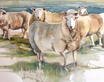 Original Watercolor Painting Sheep in the Meadow
